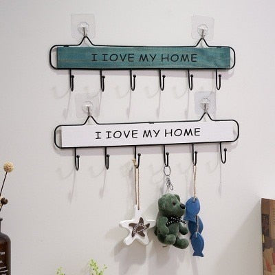 Wall Mounted Clothes Hanger 4 Hooks Hat Key Holder Laundry Coat Rack Hanging Storage Shelf For Home