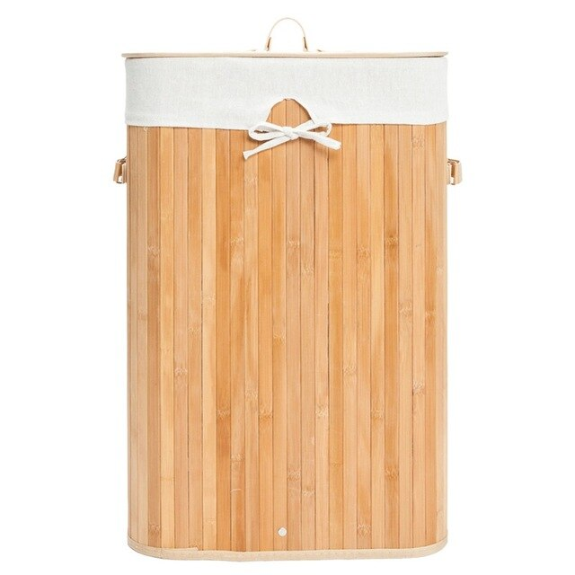 Single Lattice Bamboo Folding Basket Body with Cover Wood Color Organizer