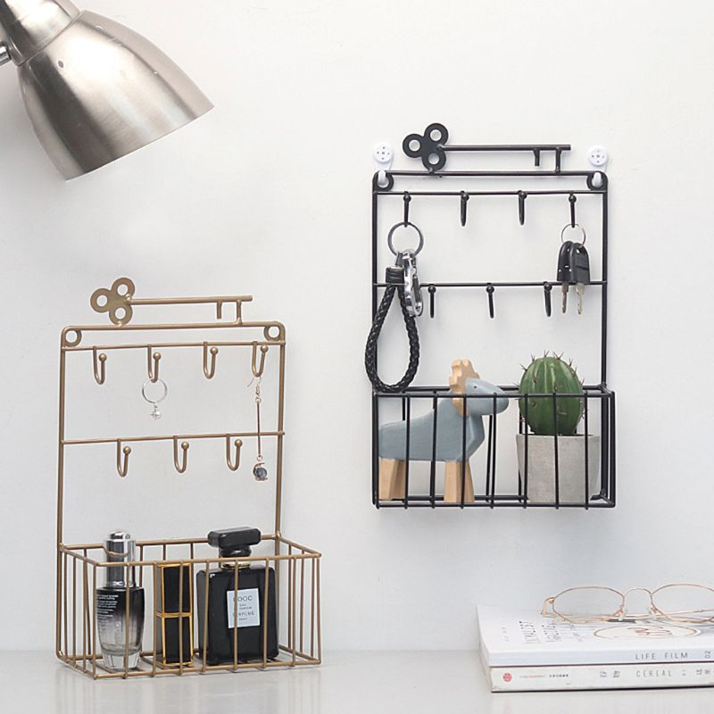 Wall Mounted Mail and Key Holder 7 Hook Rack Organizer Pocket and Letter Sorter for Entryway Kitchen Home Office Decor