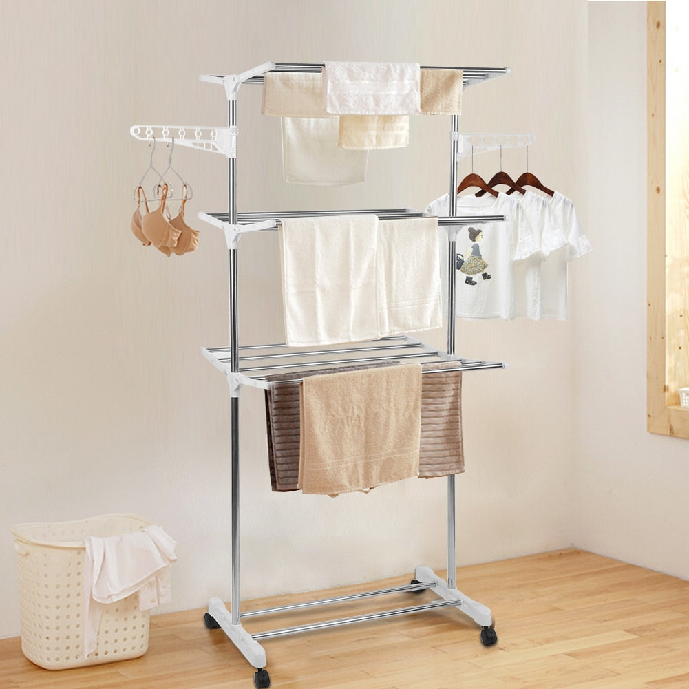 Detachable Aluminum Three layers Home Standing Laundry Racks Folding clothes drying Rack with Casters Clothes Storage Tool HWC