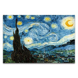 Famous Artist Van Gogh Oil Painting  Starry Sky Iris Flower Sunrise Landscape Canvas Painting Print Poster Picture Wall Decor