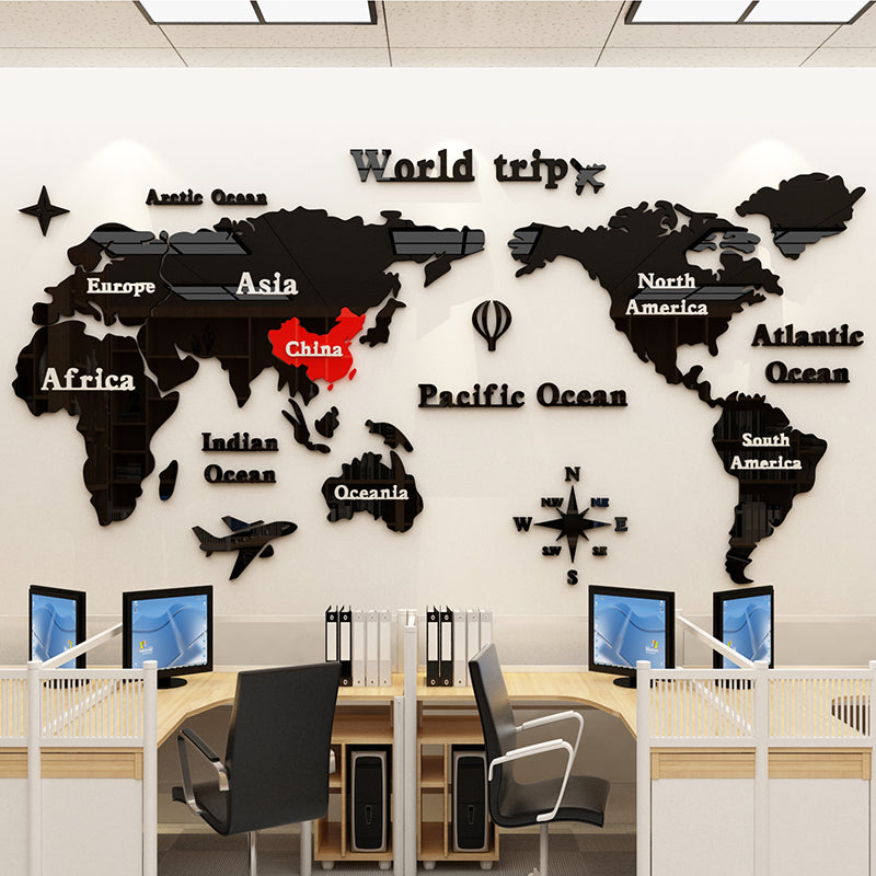 3D Acrylic World Map Wall Stickers Office decorative painting Corporate culture wall Living room self-adhesive wall sticker