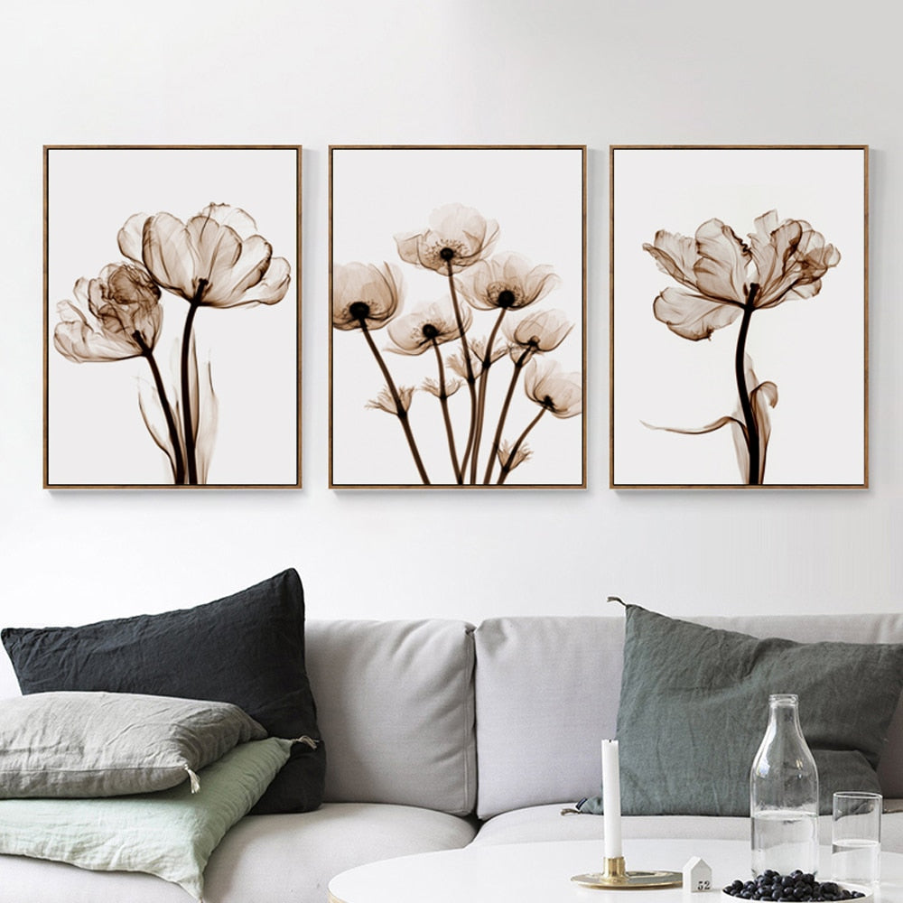 Elegant Poetry Modern 3pcs Transparent Flower A4 Canvas Painting Art Print Poster Picture Home Wall Decoration Simple Wall Decor