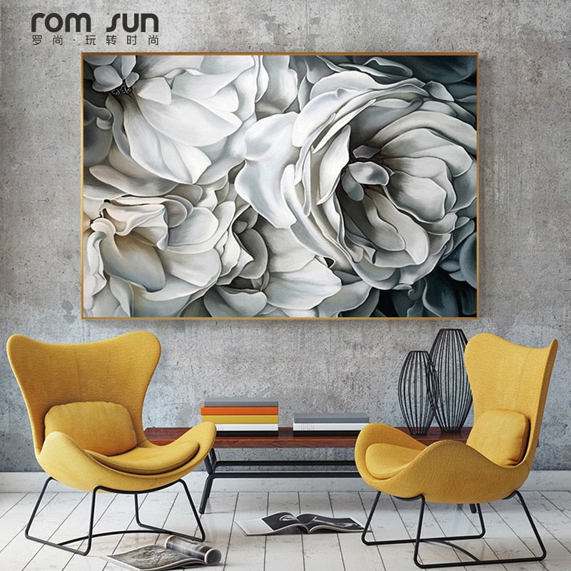 HD Nordic Big White Rose Canvas Painting Wall Art Pictures For Living Room Modern Home Decoration For Bedroom Posters And Prints