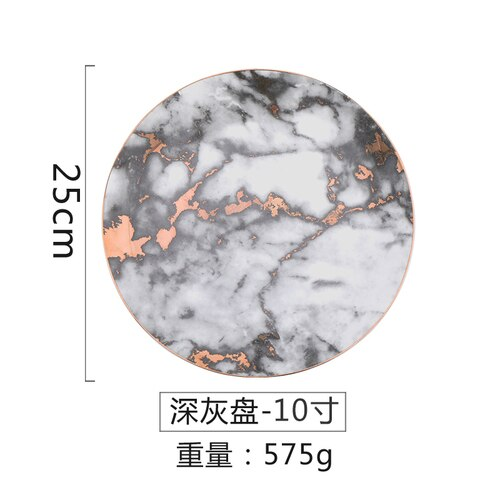 marble Plate ceramics Dinner plate Western food steak tableware ceramic jewelry dish  dessert tray  ceramic decor