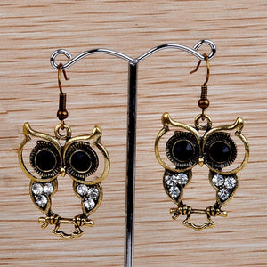 Small Bohemian Owl Earrings