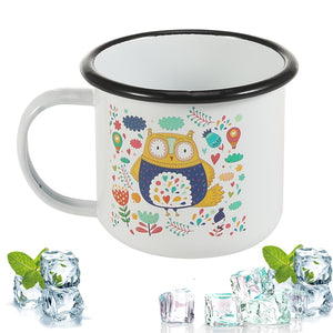 Simple Cartoon Owl with Black Frill
