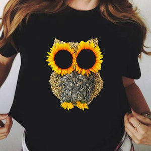 Sunflower Owl Aesthetic T-shirt