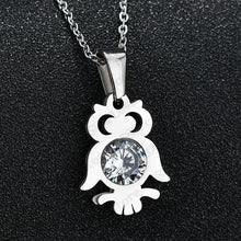 Load image into Gallery viewer, Zircon Owl Pendant Necklace