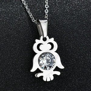 Zircon Owl Pendant Necklace