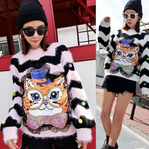 Loose Striped Owl Sweater