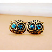 Load image into Gallery viewer, Big Eye Owl Crystal Earrings