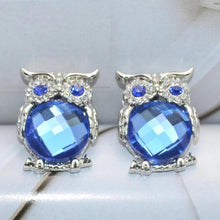 Load image into Gallery viewer, Crystal Charms Owl Earrings