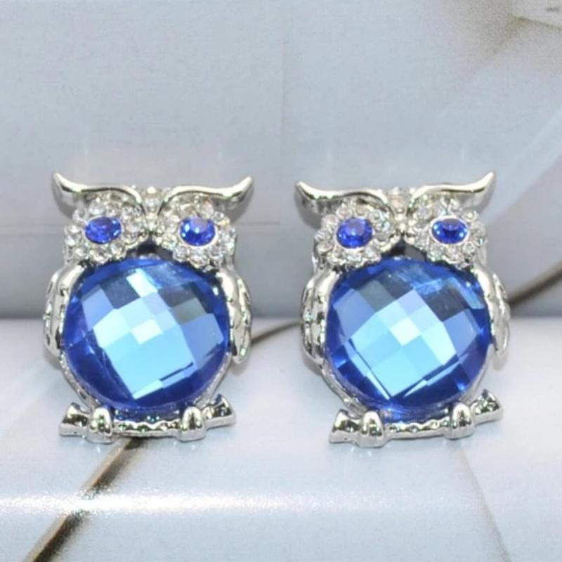 Crystal Charms Owl Earrings