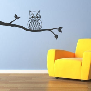 Owl On A Branch Wall Sticker