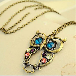 Alloy Carved Owl Necklace