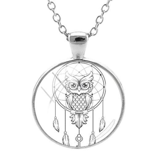 Dream Catcher & Owl Pendant Necklace