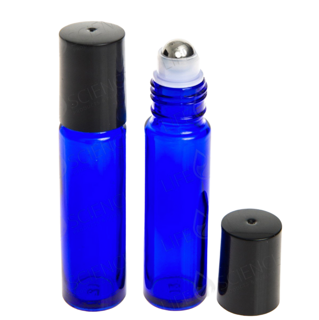 10 ml Cobalt Blue Steel Ball Roll-on Bottles (6-pack) - Discover Health & Lifestyle Asia