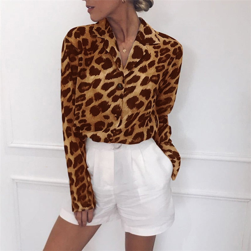 Vintage Blouse Long Sleeve Sexy Leopard Print Blouse Turn Down Collar Lady Office Shirt Tunic Casual Loose Tops Plus Size Blusas