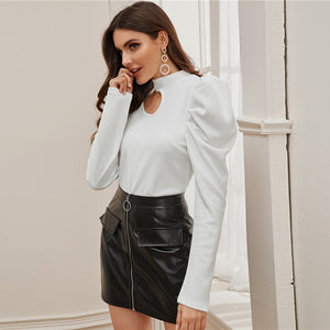 Collar Cut Out Blouse