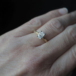 Natural Oval Diamond Engagement Ring