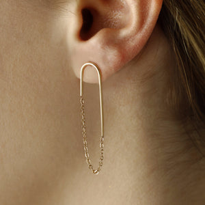 Modern gold chain earrings