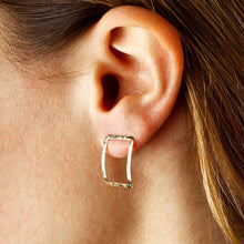 Load image into Gallery viewer, Hammered rectangle earrings