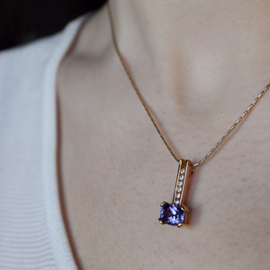 Tanzanite and Diamond Pendant in 18K