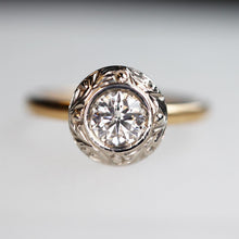 Load image into Gallery viewer, Hand Carved Bezel Diamond Ring