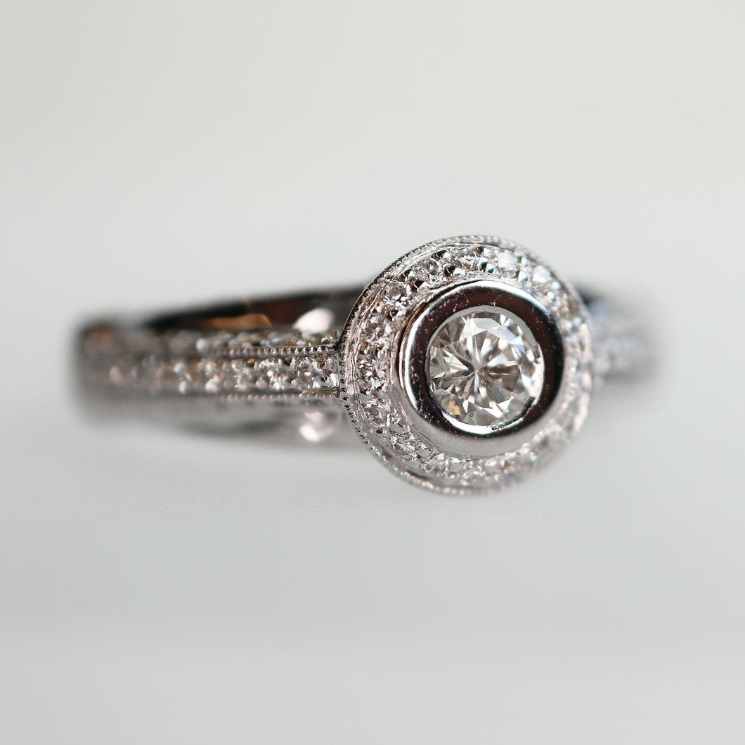 Halo Diamond Ring with Pave Profiles - Clearance