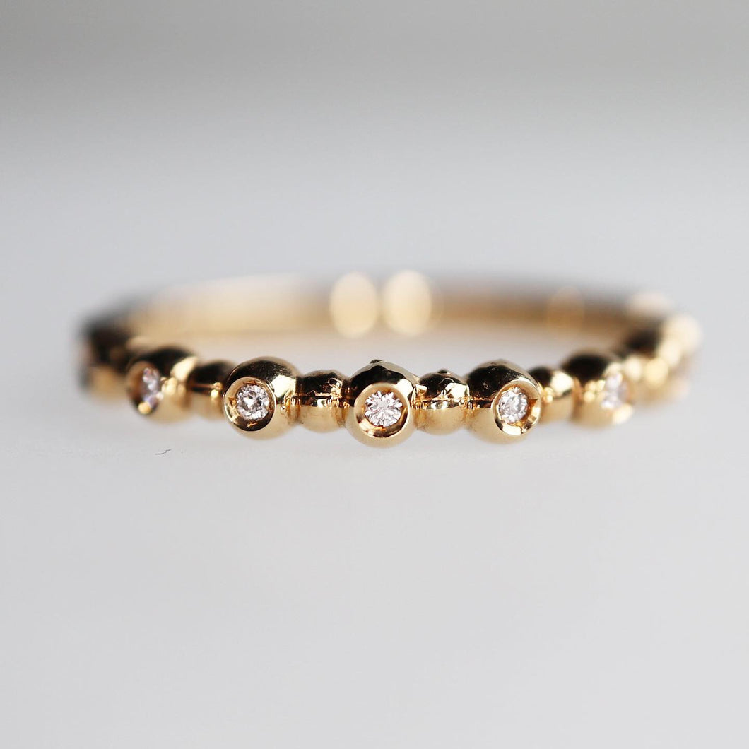 Diamond Bubble Ring in Yellow Gold