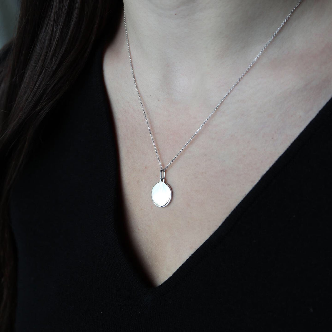 Small White Gold Disc Pendant