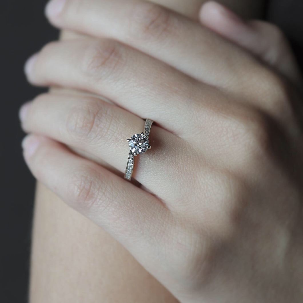 Classic Engagement Ring with Pave Diamonds