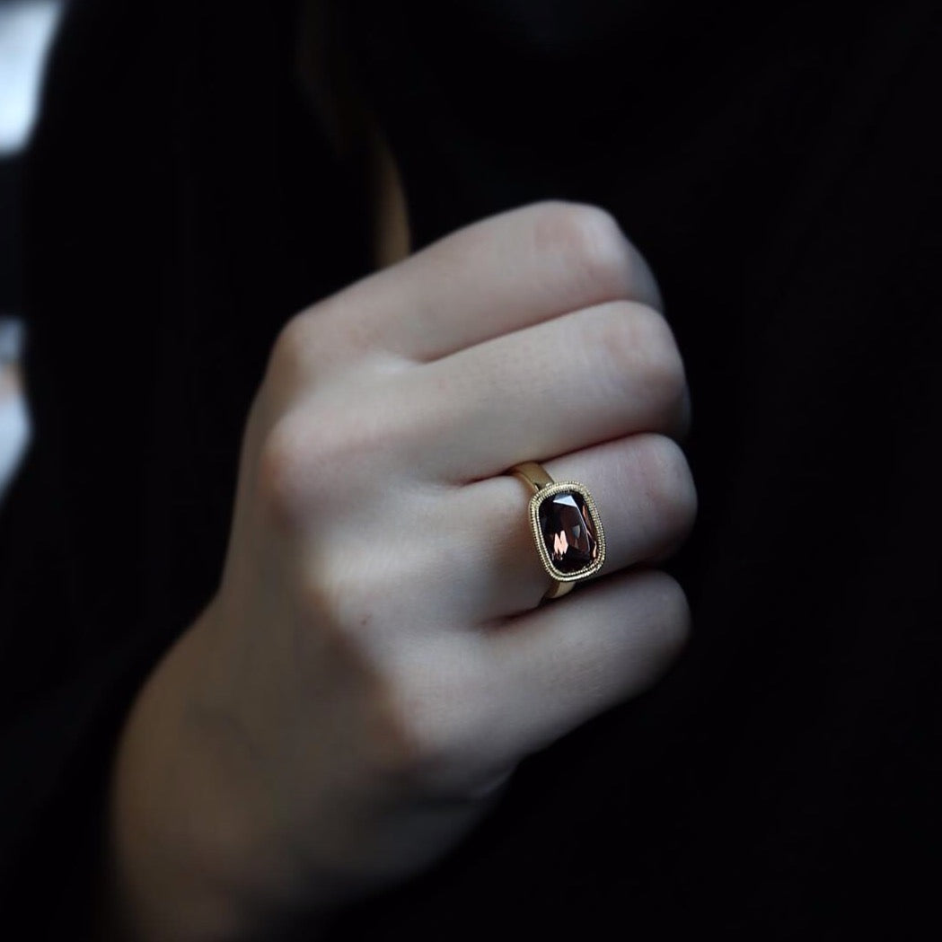 One of a Kind Brown Zircon Ring