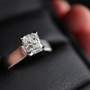 Solitaire Ribbon Platinum Radiant Cut Diamond Ring