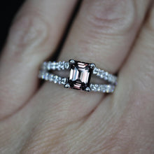 Load image into Gallery viewer, Emerald Cut Sapphire and Diamond Ring