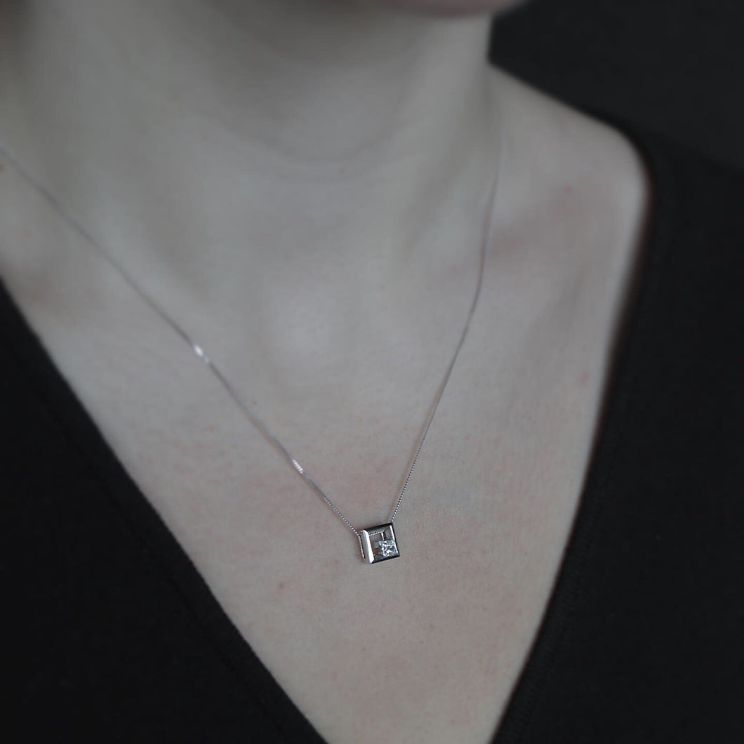 Offset Diamond Pendant