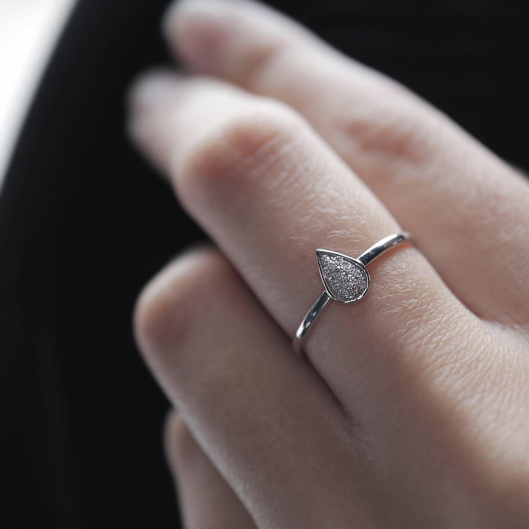 Pave Pear Shape Ring