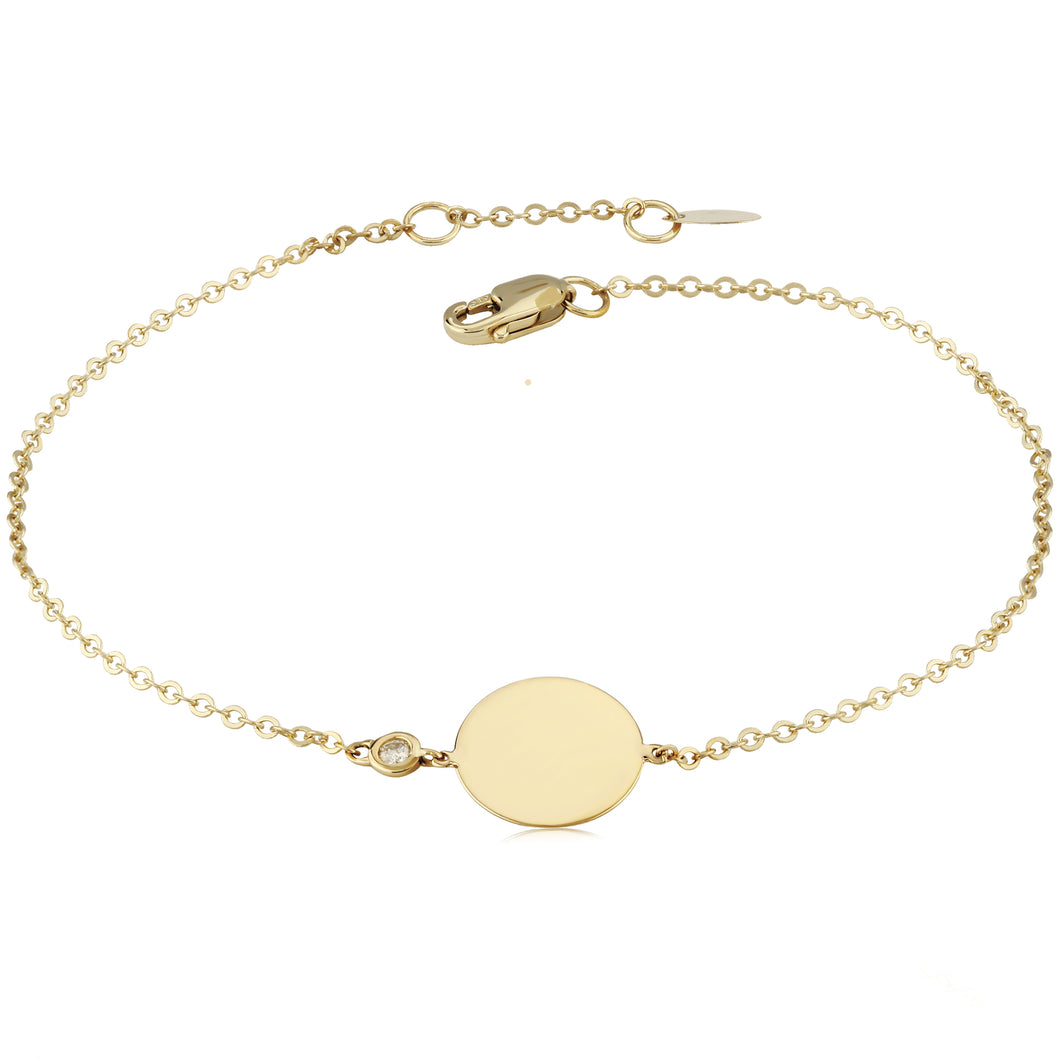 Round Disc Bracelet in 14K Solid Gold with Diamond