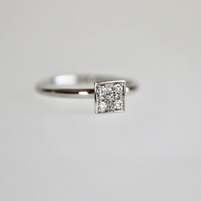 Square Pavé Diamond Fusion Ring in 14K White Gold