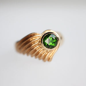 Green Tourmaline Shell Ring - Clearance