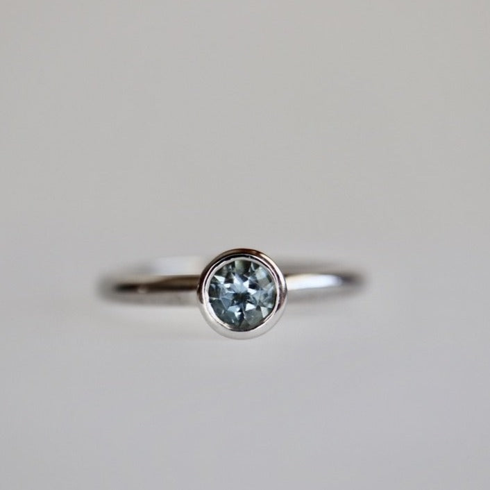 Aquamarine Fusion Ring in 14K White Gold