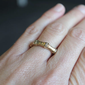 Hammered Pave Bamboo Style Ring - Clearance