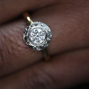 Hand Carved Bezel Diamond Ring