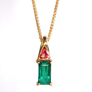Emerald and Pink Sapphire Pendant