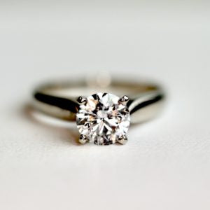 0.80 Ct Diamond Solitaire Engagement Ring in White Gold