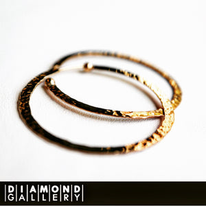 14K Hammered Hoop Earrings