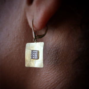 Bespoke Square Textured Pave Diamond Earrings