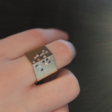Load image into Gallery viewer, Geometric Sapphire and Diamond Ring