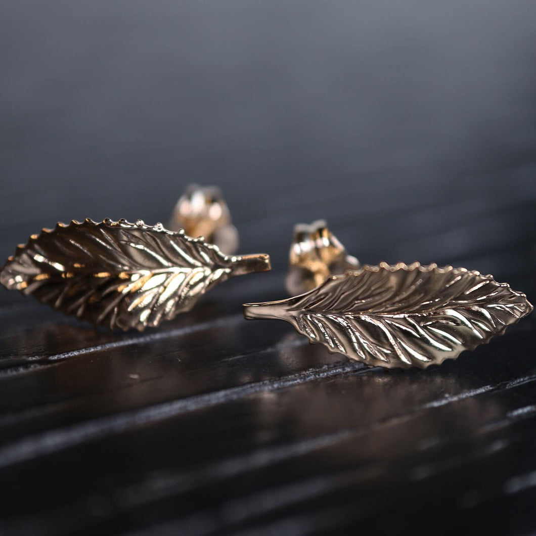 14K Leaf Earrings